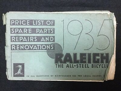 Raleigh Industries - 1935 All Steel Superbe - Workshop Price and Parts -  RARE