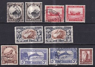 New Zealand 1935/42 collection of 10 mint hinged and used