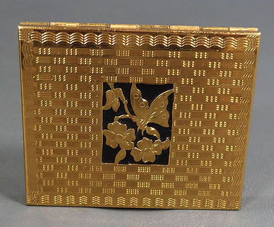 Art Deco French Gilt Lady Powder Compact Mirror Hinged Box Case Butterfly&flower