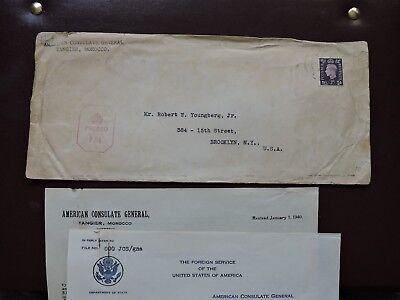 1941 Morocco Us Consular Tangier +Wwii Censor +Letters +Used Stamps ! Lot L@@k !