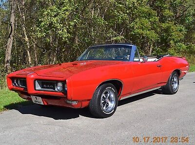 1968 Pontiac GTO GTO 400 ORIGINAL NUMBERS MATCHING 1968 GTO CONVERTIBLE 400 AUTO PS PDB ALL NUMBERS MATCHING BEAUTIFUL SOLAR RED