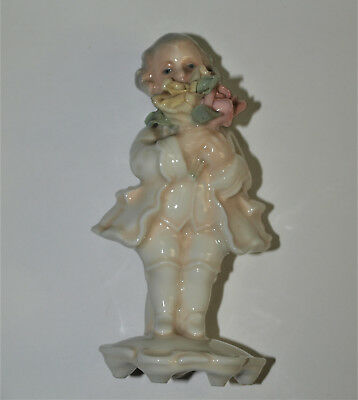 Vintage Porcelain Figurine of Young Man with Flowers, Ens -Porzeilan Voikstedt