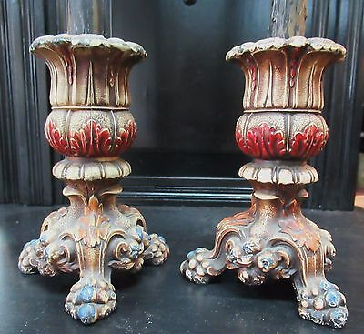 PAIR OF 1920s SPELTER HAND PAINTED FOOTED CANDLESTICKS (LOVELY DESIGN!)