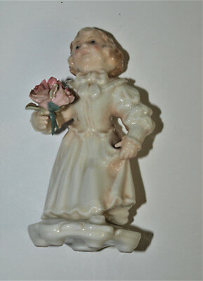 Vintage Porcelain Figurine of Young Girl with Flowers, ENS