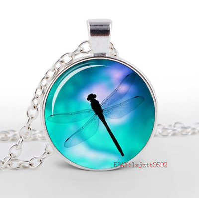 New Dragonfly Glass Cabochon Tibet silver pendant chain necklace Jewelry