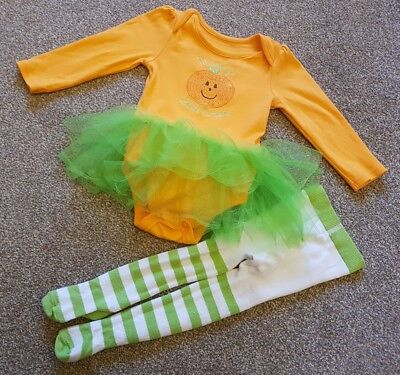 Girls halloween pumpkin outfit vest with net skirt and tights, 9-12 months