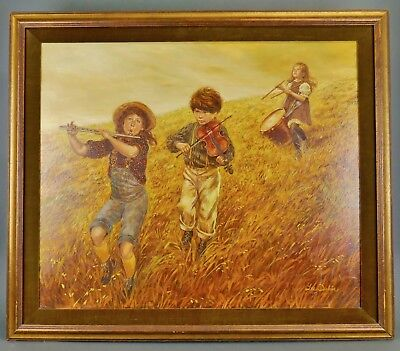 """Original LEE DUBIN """"MUSIC in the FIELD"""" Oil Painting Listed Artist Victorian Kid"""