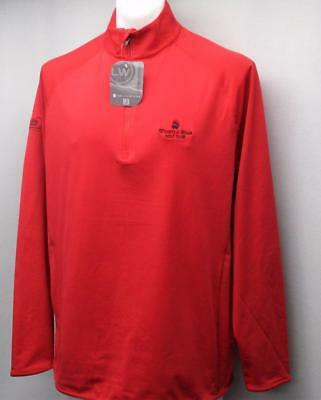 New Mens Levelwear LARGE Metro long sleeve red 1/2 zip pullover ManuLife Classic