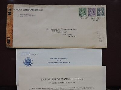 1943 St Lucia Cover Us Consulate +Signed Letter +Used Stamps Bwi ! +Info Sheet !