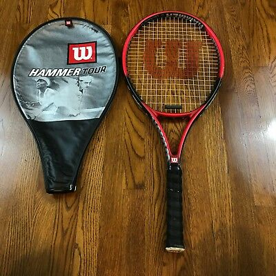 Wilson Hammer Tour Tennis Racquet 4 ½ Made In Usa And Cover