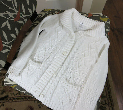 Carters Girls White Knit Cable Cardigan Size 6x