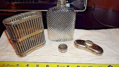 Glass Flask W Silver Cage Vintage Hip flask Prohibition 1927 Universal Art Deco
