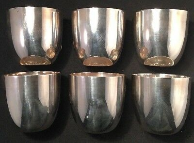 Set Of Six Fine Cartier Sterling Silver Mint Julep / Tumbler Cups