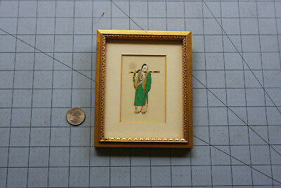 Vintage Antique Chinese Painting Full Portrait Musician on Pith Rice Paper China