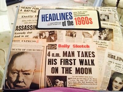 Headlines of the 1960s. 6 x Full-sized newspaper facsimiles.