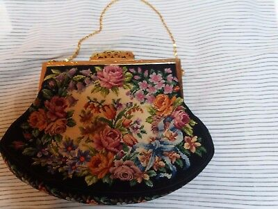 Vintage Tapestry Needlepoint Evening Bag Floral Cabbage Rose Antique
