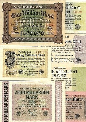 LOT OF 16 Germany 500 - 50 billion marks 1923, hyperinflation banknotes.
