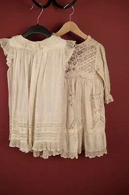 2 ANTIQUE VICTORIAN CREAM SILK BABY DRESSES French Lace For Restoration #9