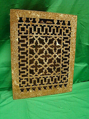 Antique Late 1800's Cast Iron Heating Grate Unique Ornate Design 13.75 X 11 Jh