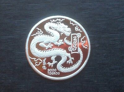 RARE MINT 2000 Mongolia Platinum Dragon proof Coin With mint COA