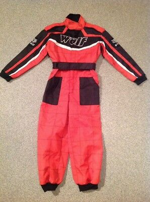 WulfSport Wulf Kids Bambino Red and Black Race Suit One Piece. Size M (9)