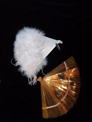 Vintage Fans Ostrich Feather Mini Doll Collector Antique