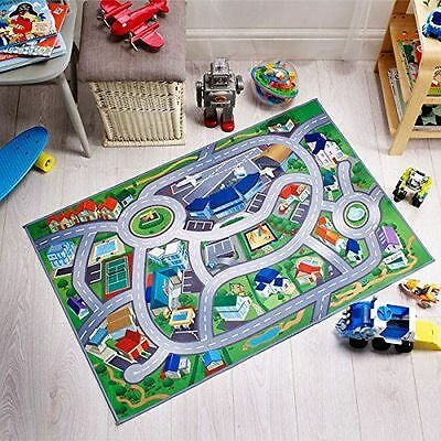 Flair Rugs City Airport Map Childrens Non-Slip Play Mat, Multi, 75 x 112 Cm