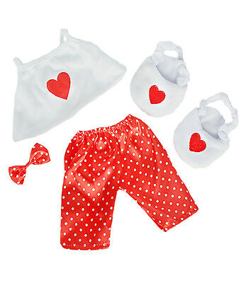 """Satin Heart Pj's with Heart Slippers Teddy Bear Clothes Fits Most 14"""" - 18"""""""