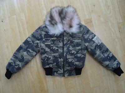 MONNALISA BIMBA girls green camouflage jacket coat furry trim AGE 8 YEARS