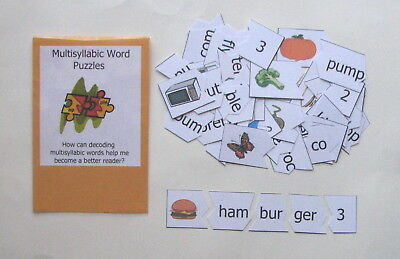 Teacher Made Literacy Center Phonics Resource Game Multisyllabic Word Puzzles