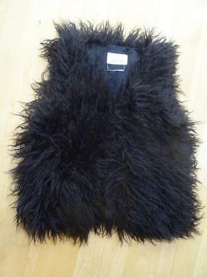 EX NEXT girls black fluffy faux fur furry gilet bodywarmer jacket AGE 9 YEARS
