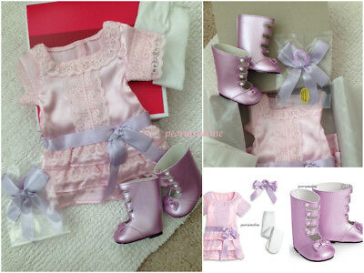 American Girl SAMANTHA FRILLY FROCK DRESS~Bow~Boots (Shoes)~Tights~Outfit