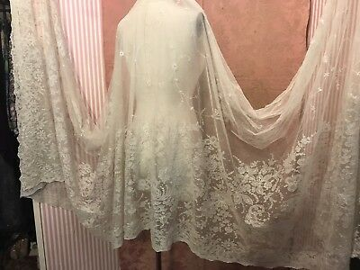 Antique French Net Lace Yardage-Bridal Lace-Tambour-Floral 1920's Lot #5