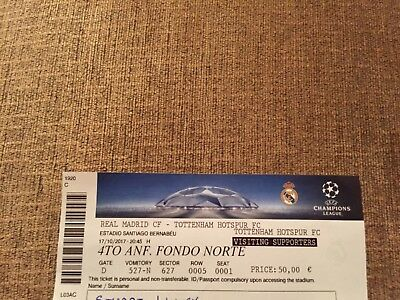 Real Madrid v Tottenham / Spurs 17/10/2017 Complete Ticket