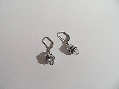 Beautiful Pair of Solid Silver and Crystal Earrings for Pierced Ears