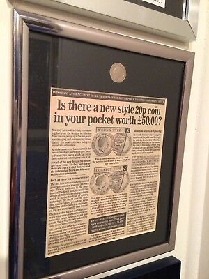 Undated 20p coin framed.