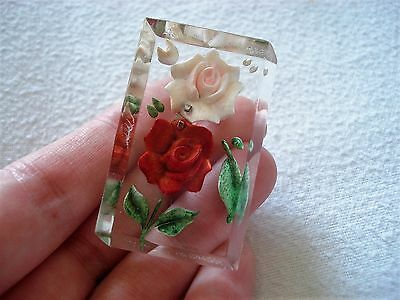 Vintage Reverse Carved Lucite Brooch Double Rose Flower Old Jewellery Unusual