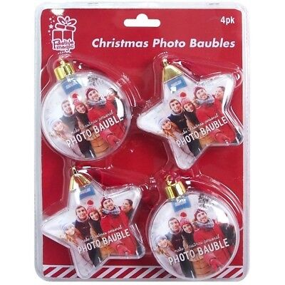 4 x Christmas Photo Insert Baubles Festive Personalised Gift Tree Decorations