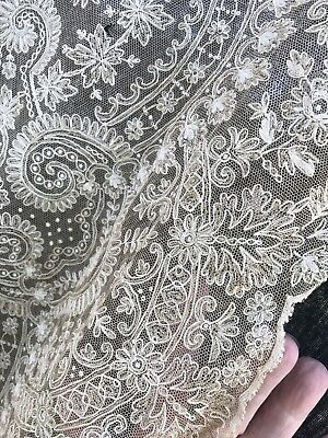 Antique French Net Lace Yardage-Bridal Lace-Tambour-Floral 1920's Lot #8