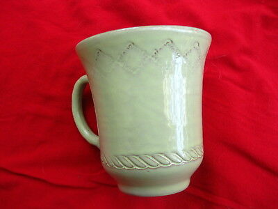 Vietri Bellezza Celadon Mug~Artsy Etched Shapes..very Nice W/ Lovely Glaze