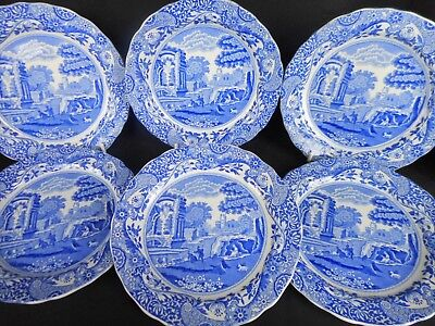 SIX  COPELAND SPODE's SMALL  ITALIAN PATTERNED PLATES ~ VERY FINE CONDITION  !