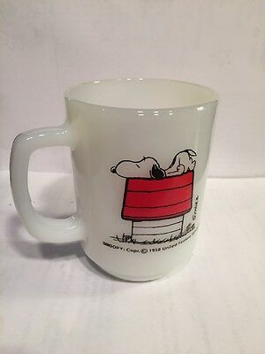 Fire King Snoopy Peanuts Coffee Cup Glass Mug I Think I'm Allergic To Mornings
