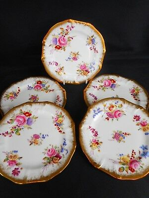 Five Hammersley Small Plates Decorated In ' Dresden Sprays '. ~ Superb Condition