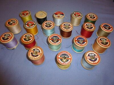 Job Lot Of 19  Vintage Collectable Sewing Bobbins Threads Sylco  Inc Wood