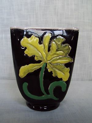 Italian Pottery Yellow Floral Vase Planter Numbered 407/1 Hand Painted