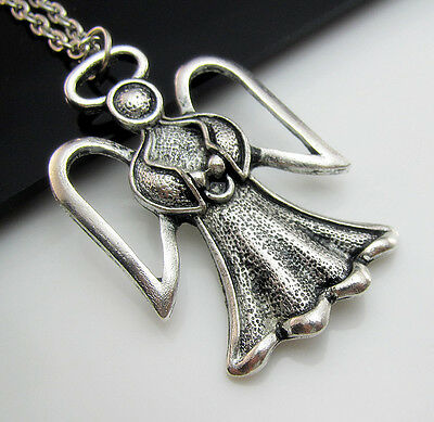 Free Tibetan Silver Hollow With wings ANGEL Bless Lucky Pendant Charm Necklace