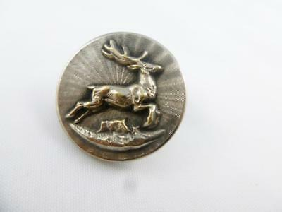 Antique Early 20th Century Silver Metal Leaping Stag Livery Button c 1930's