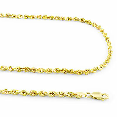 """10k Yellow Gold REAL 2.5mm Diamond Cut Rope Chain Pendant Necklace Link 16""""- 30"""""""