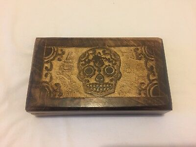 Wooden Skull Jewellery Box Trinket Box