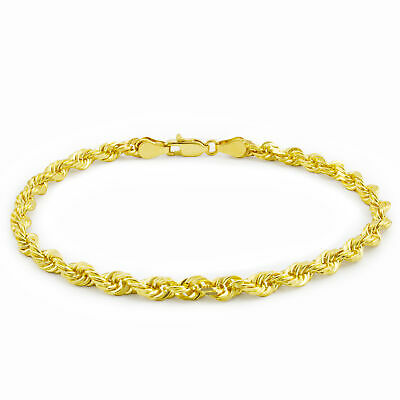 "Real 10K Yellow Gold Italian 4mm Wide Diamond Cut Rope Chain Bracelet 7"" 8"" 9"""
